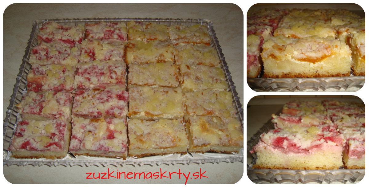 Ovocný kysnutý koláč s tvarohom a posýpkou