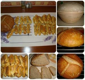 Kváskové maslové rohlíky posypané chia semienkami a špaldový chlieb