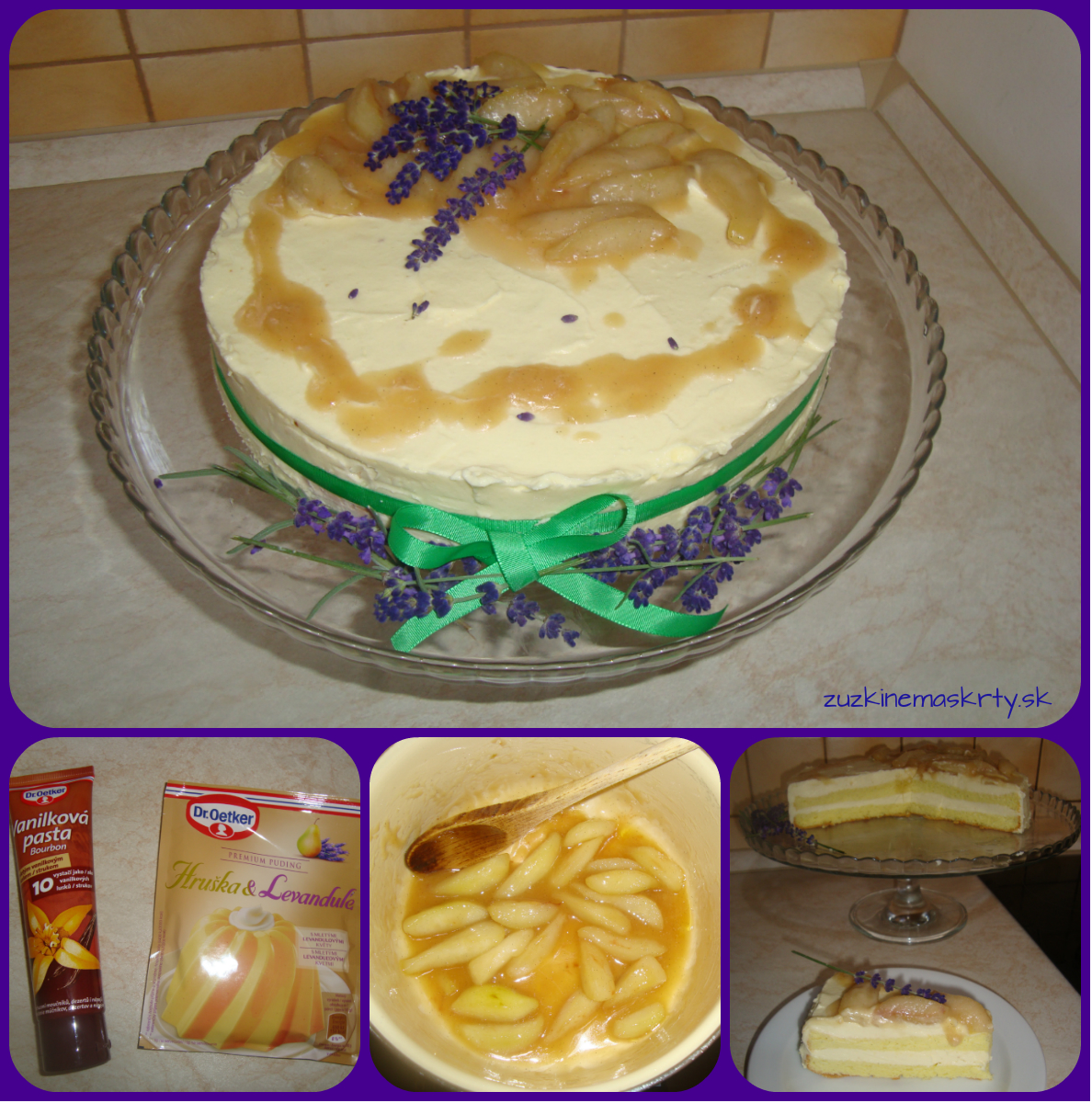Hruškovo-levanduľová torta